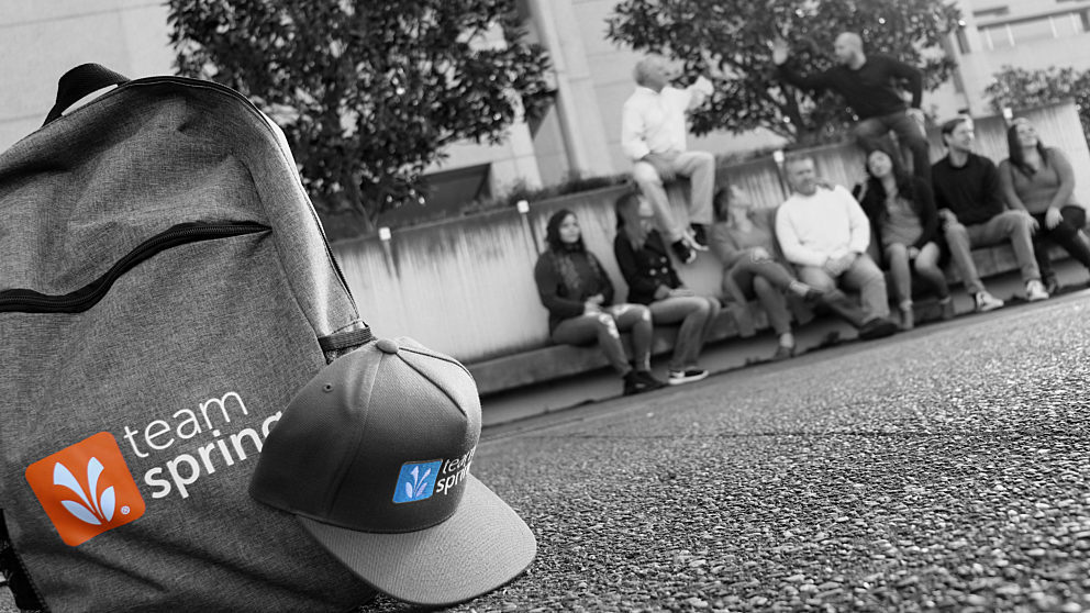 Backpack and hat logo